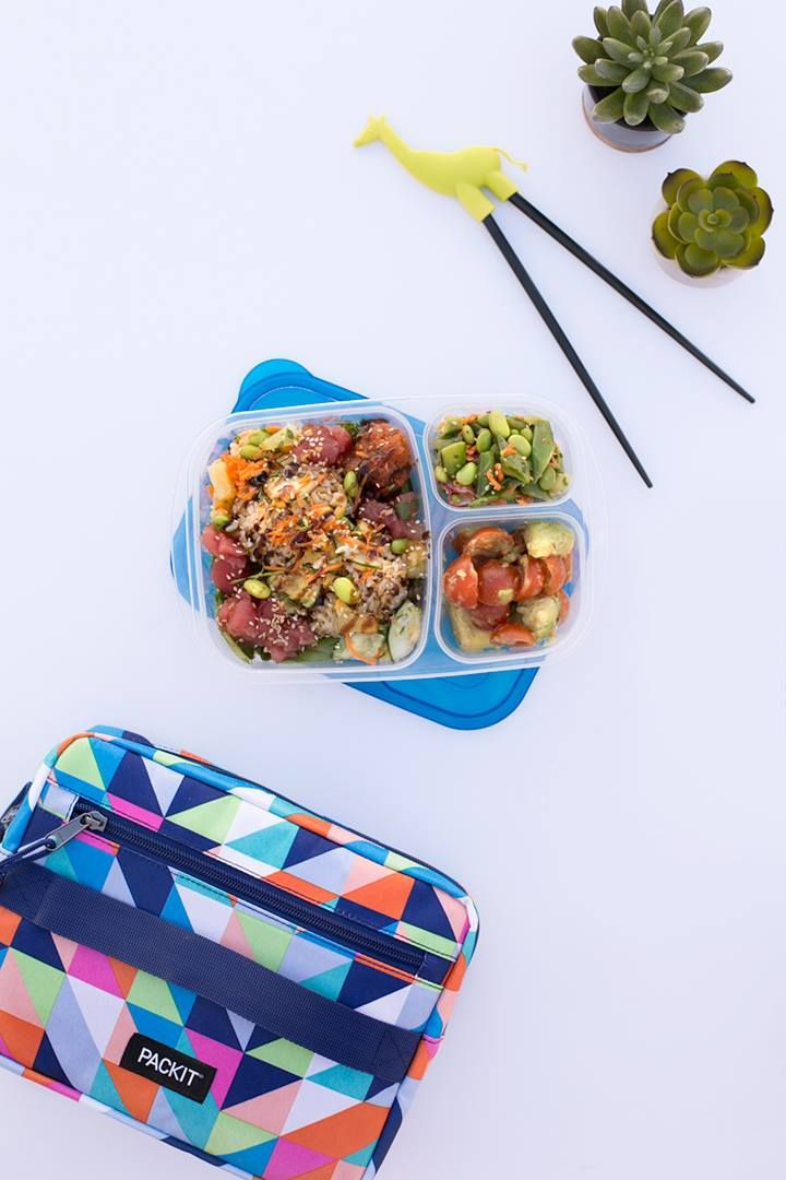 PackIt Freezable Bento Box lunch box set. PackIt's freezable insulated bento lunch bag with a built-in eco-gel liner lets you take safe, healthy meals everywhere without the need for ice packs. Keeps contents cool for up to 10 hours.  PVC/lead-free, non-toxic & reusable. Sleeve folds compactly in the freezer. Comes with inner bento container.
