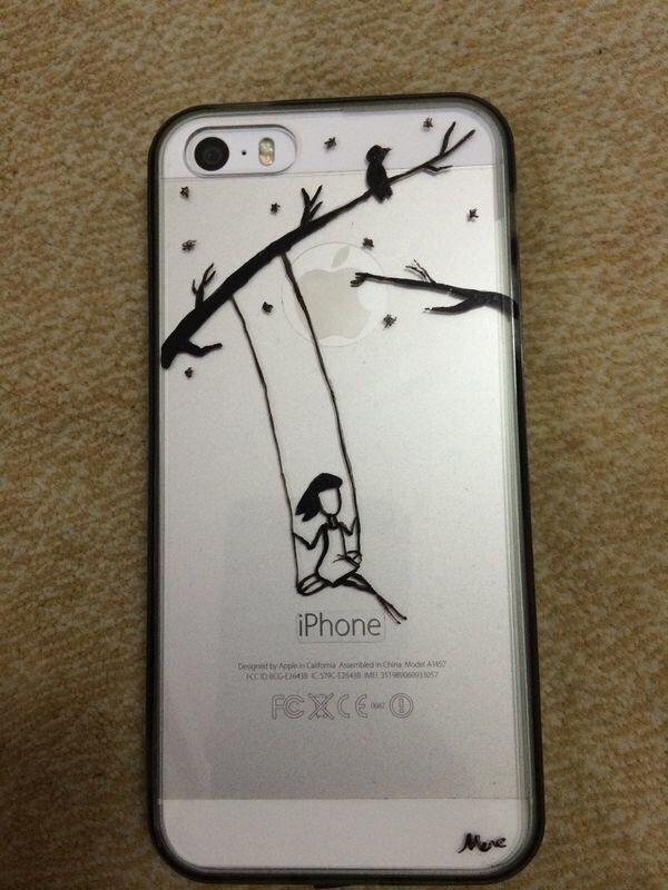 Salıncakta sallanan kız. Iphone kılıfı. Yeni tasarımım.