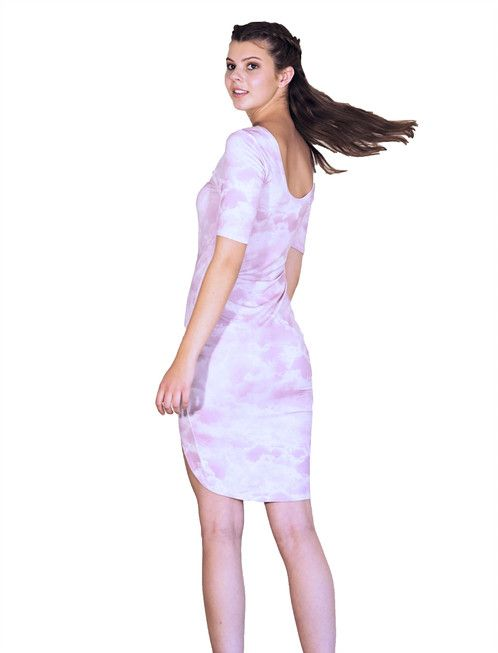 Becky dress is made for a summer day with flats or high heels. The dress has a cloud print on it and a sexy hem.