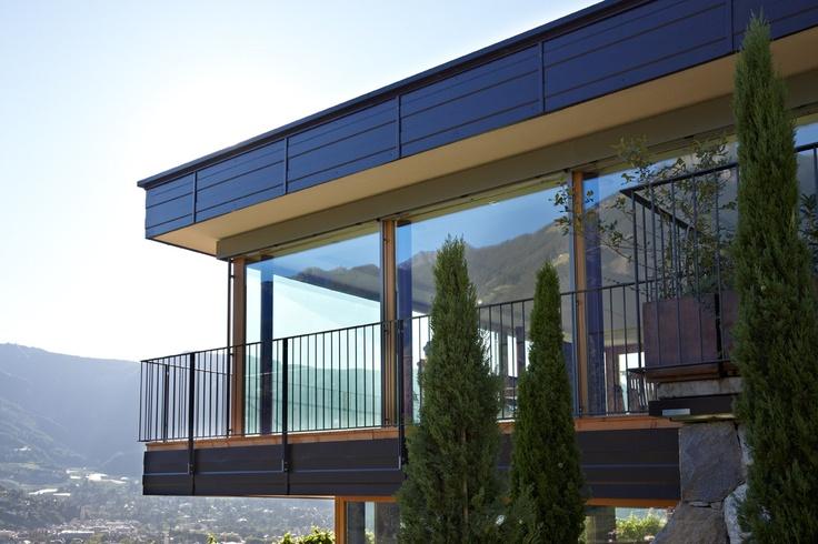 Cipressi e finestre (ALPIfinestra I30 in legno larice)