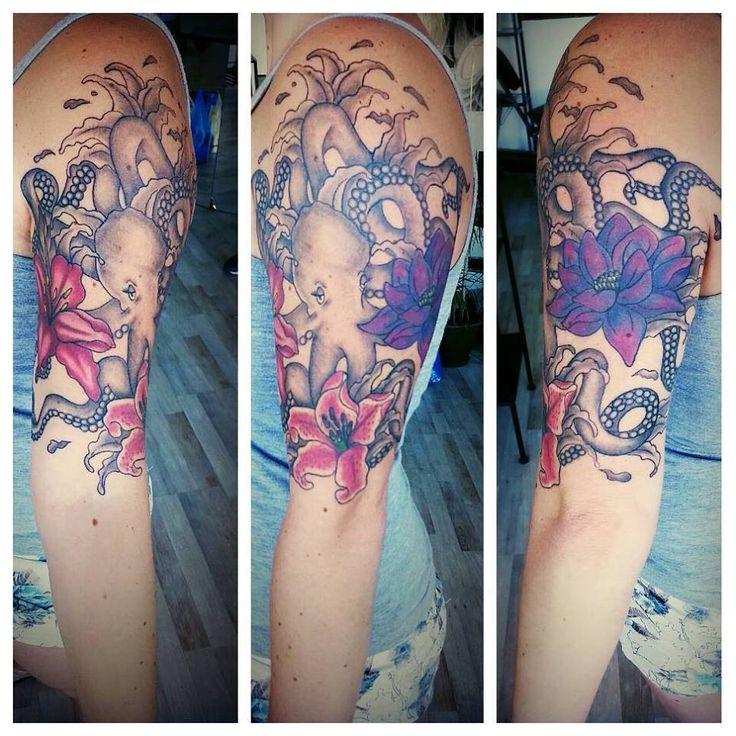 pretty octopus and lily flower half sleeve tattoo girly