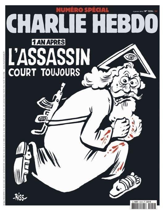 Het Franse satirische weekblad Charlie Hebdo bracht een jaar na de aanslag door twee gewapende terroristen op haar redactie een speciale editie uit. Op de cover stond een cartoon van God afgebeeld afgebeeld met een baard, die een kalasjnikov vast heeft en bebloede kleren draagt, met daarboven de titel: '1 an après, l'assassin court toujours'. Vertaald: Eén jaar later is de moordenaar nog steeds op vrije voeten.