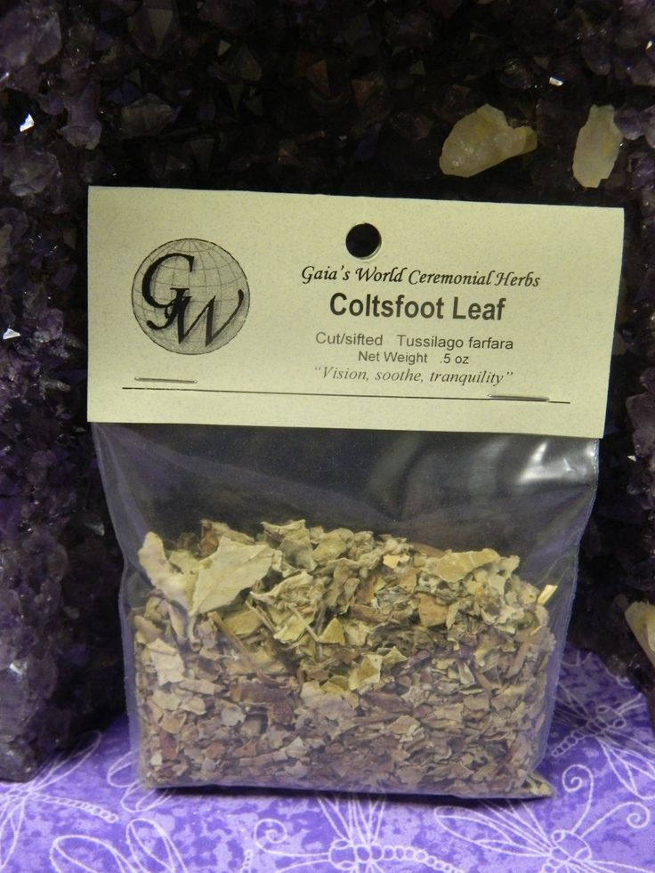 Coltsfoot Leaf, also known as Foalswort and British Tobacco,  is used for psychic visions, peace spells, soothing coughs and throat irritations, and in smoking blends.  Methods include burning, teas, tinctures and poultices.