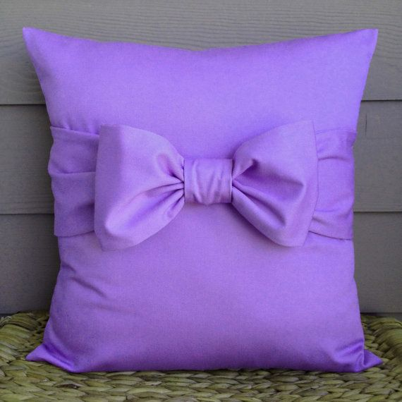 Purple Pillow Cover. Bow Pillow Cover. Decorative by SaritaLutrell