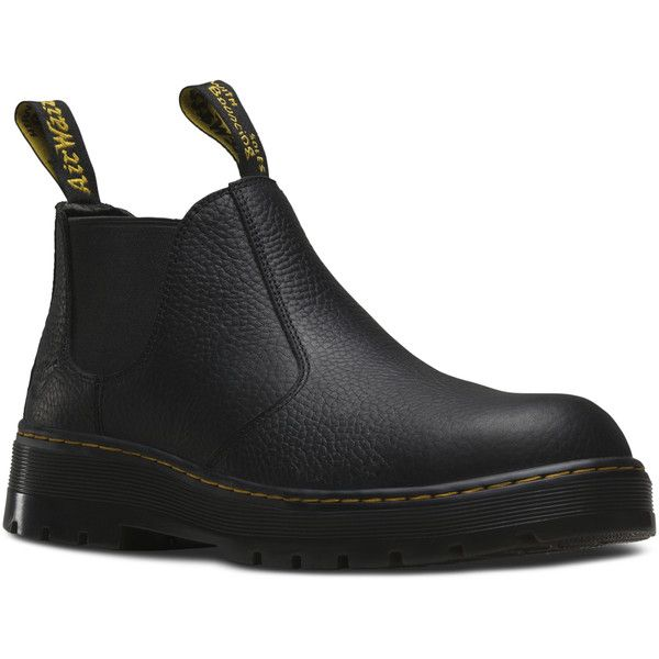 Dr. Martens Rivet Safety Toe Low Boot ($110) ❤ liked on Polyvore featuring shoes, boots, ankle booties, black, steel toe caps, low booties, safety toe boots, safety toe caps and black ankle booties