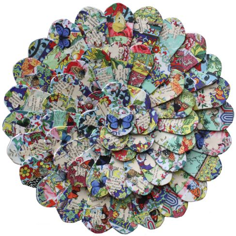 """""""Bloom."""" School art auction wall sculpture created by kindergartners and coordinated by artist Corinna Buchholz of piddix. Click on image for details of the process."""