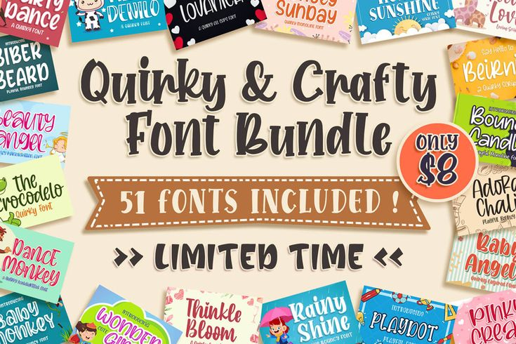 Download Quirky & Crafty Font Bundle (Bundle) · Creative Fabrica in ...