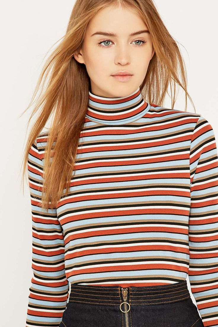 Urban Outfitters Stripe Ribbed Turtleneck Jumper