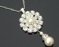 Sparkling Pearl & Crystal Pendant, Calista