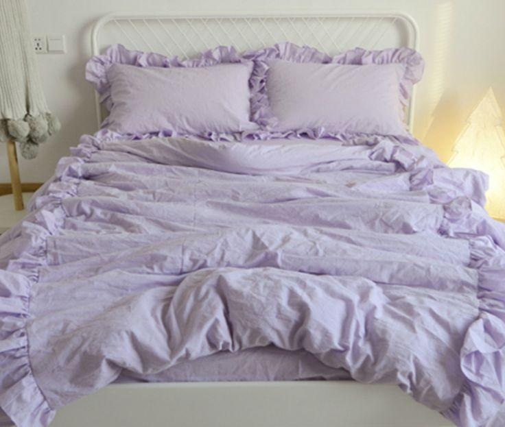 Lavender Purple Linen Duvet Cover With 2 Rows Of Ruffles Soooooo