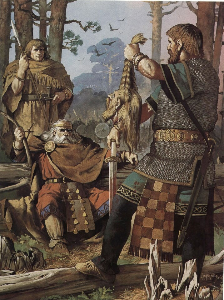 Brian Bóruma mac Cennétig (Brian Boru, High King of Ireland) is presented with the head of a slain viking. Painting by Angus McBride: