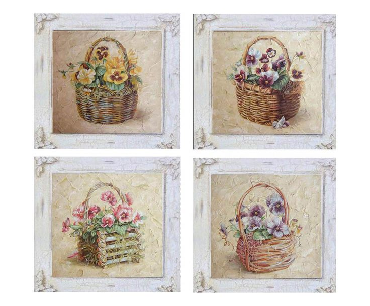 set di 4 quadri in legno flower assortiti 38x38x8 cm