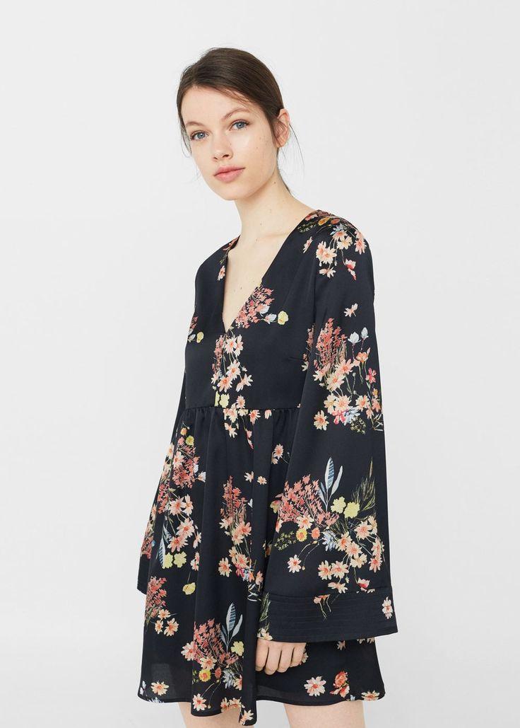 Vestido estampado flores - Vestidos de Mujer | MANGO España