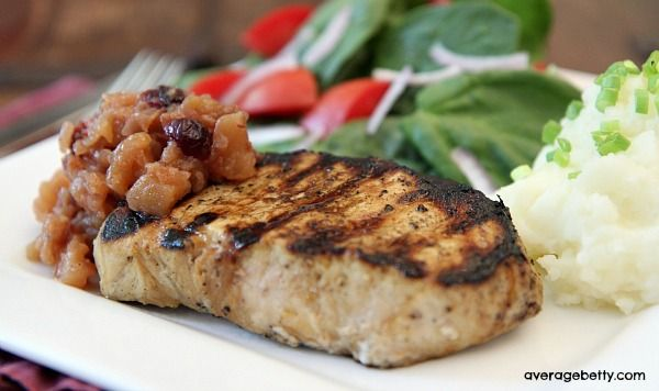 Grilled New York Pork Chops with Apple Cranberry Chutney Recipe - http://www.averagebetty.com/recipes/grilled-orange-soy-new-york-pork-chops-apple-ginger-cranberry-chutney-recipe/