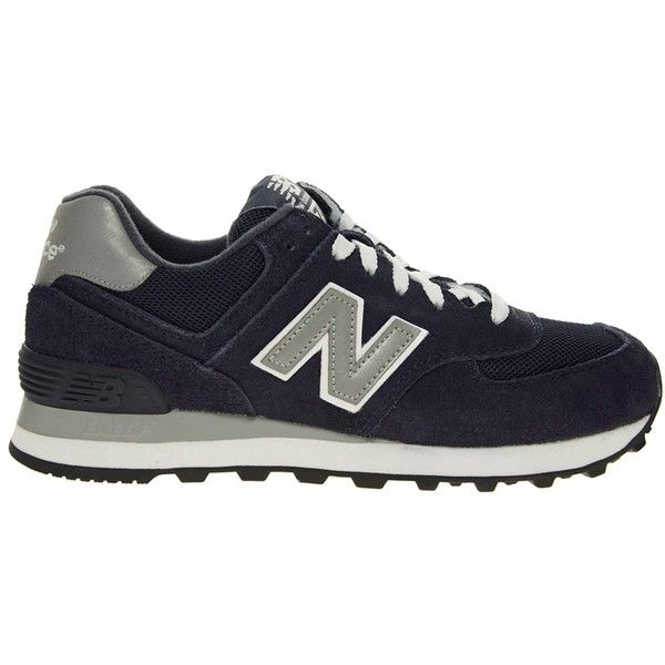 New Balance 574 Navy Sneakers ($114) ❤ liked on Polyvore featuring shoes, sneakers, footwear, new balance, new balance trainers, navy blue suede shoes, breathable shoes and grip shoes