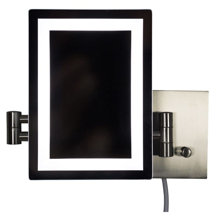 American Imaginations 17.44-in. W Rectangle Brass-LED Wall Mount Magnifying Mirror In Brushed Nickel Color