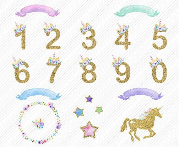 Number Clipart Watercolor Unicorn Clipart Floral Numbers