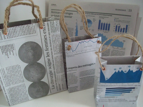 Recycled Newspaper Gift Bags  Set of 3 by LaPommeEtLaPipe on Etsy, $4.00