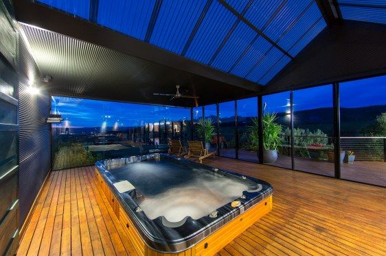 This Stunning Lifestyle Property For Sale, includes an outdoor room housing a 4m Swim Spa Located at 559 Flatrock Road, Beechworth Vic