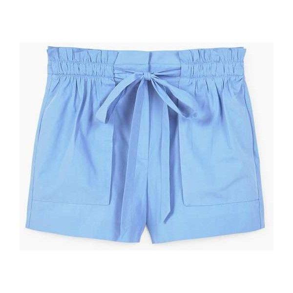 MANGO Lace cotton short ($50) ❤ liked on Polyvore featuring shorts, cotton shorts, ruched shorts, bow shorts, lace shorts and mango shorts