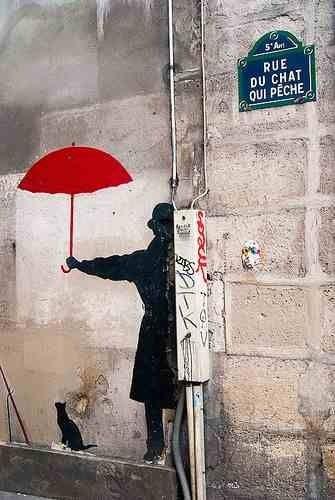Street art Paris - umbrellas on rainy days