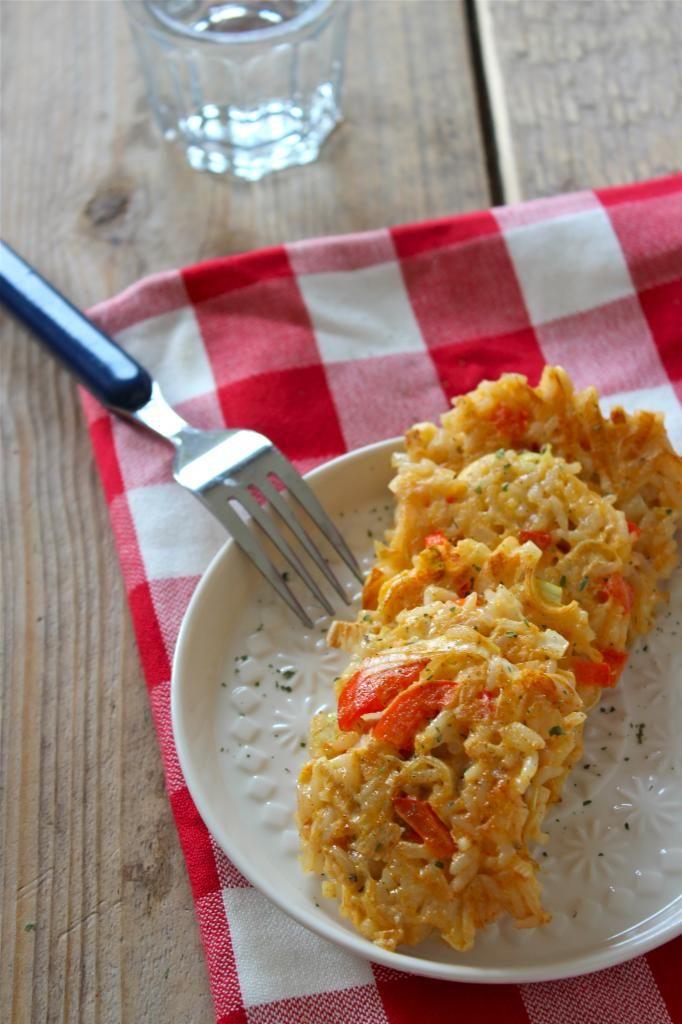 Rijstkoekjes met paprika en prei