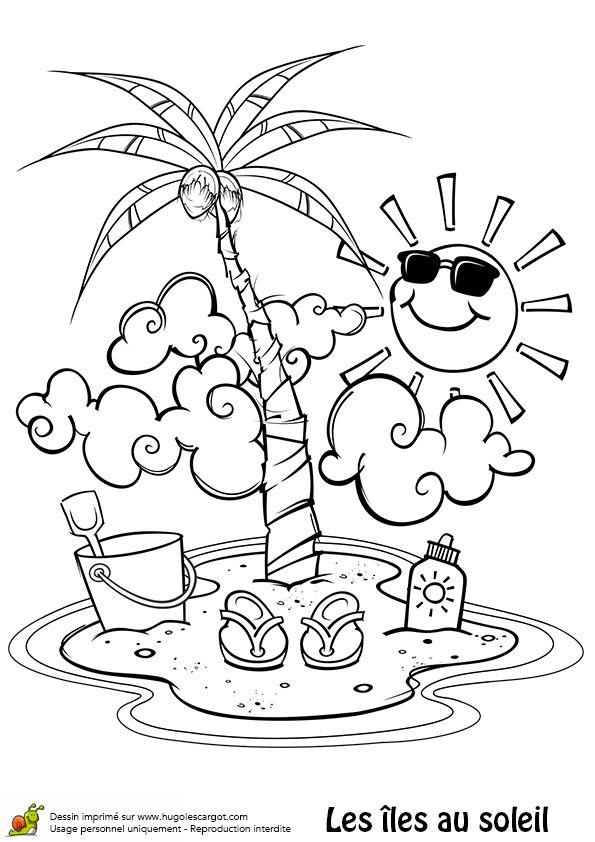 Malvorlage einer kleinen Insel mit einer Palme einem Eimer
