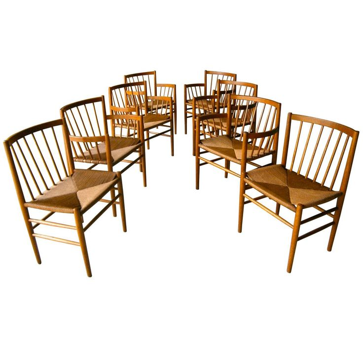 Set of Eight Danish Oak Dining Chairs by Jørgen Bækmark for FDM Møbler | From a unique collection of antique and modern dining room chairs at https://www.1stdibs.com/furniture/seating/dining-room-chairs/