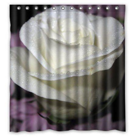 Greendecor White Rose Waterproof Shower Curtain Set With Hooks