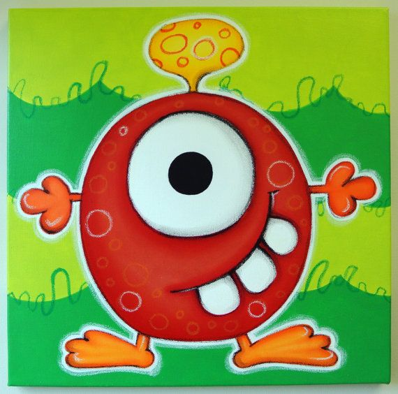rED mONSTER - 12x12 original painting on canvas, for nursery or kids room, monster art, cute monsters