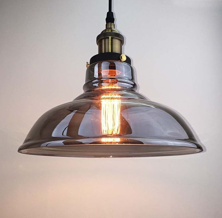 Antique Vintage Industrial Grey Glass Shade Pendant Lamp Ceiling Light Loft Bar in Home, Furniture & DIY, Lighting, Ceiling Lights & Chandeliers | eBay