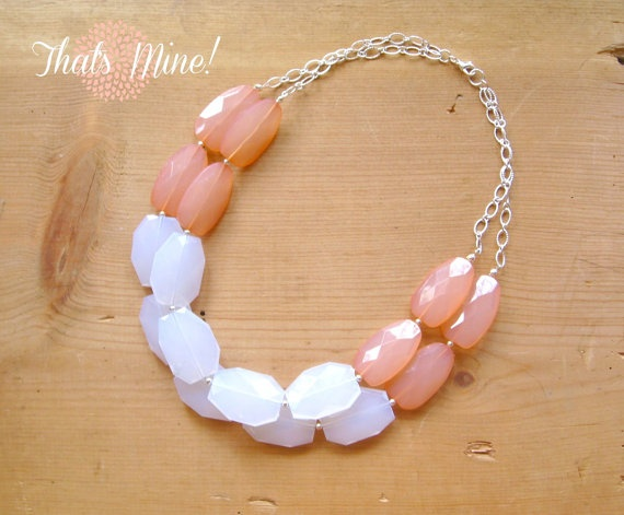 Coral and white colorblock necklace Coral by ThatsmineBoutique, $42.00