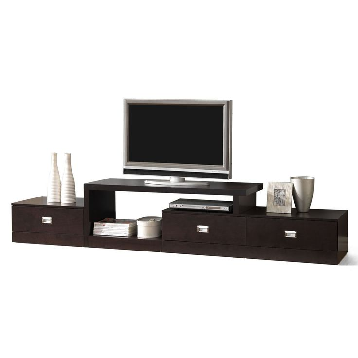 Contemporary dark brown wood tv stand by baxton studio by for Furniture of america danbury modern