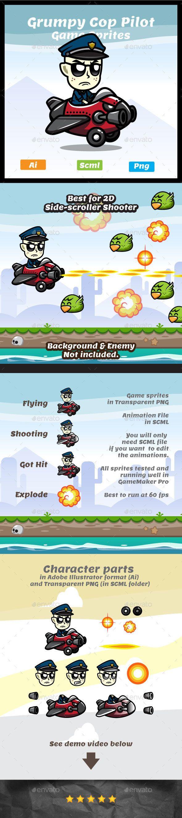 Grumpy Cop The Pilot - Sprites Game Assets