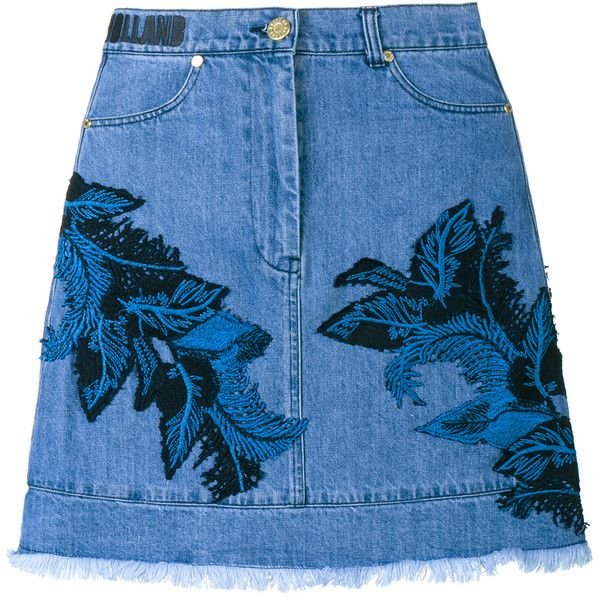 House Of Holland Denim Skirt With Lace Overlay ($216) ❤ liked on Polyvore featuring skirts, bottoms, floral print skirt, floral skirt, a line denim skirt, blue denim skirt and blue high waisted skirt