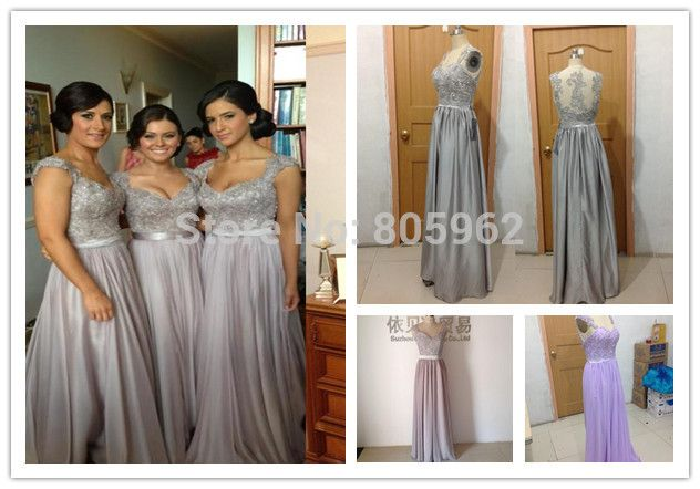 Find More Bridesmaid Dresses Information about Hot Sale 2014 Chiffon  A Line Sweetheart Cap Sleeve Back Hollow Appliques Sequins Beads Floor Length Bridesmaid Dresses BD001,High Quality Bridesmaid Dresses from Suzhou Romantic Wedding Dress Co. Ltd on Aliexpress.com