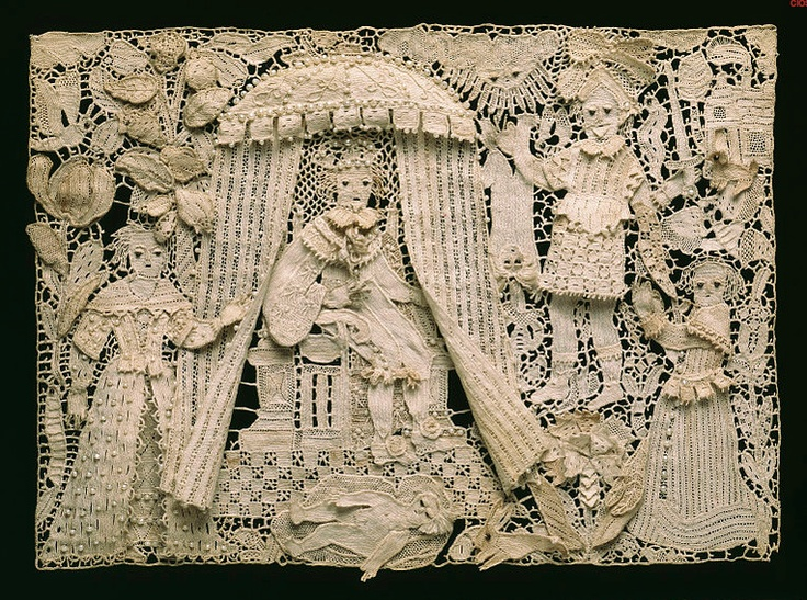Lace Panel (1640-1670) needle lace with seed pearls and glass beads. Victorian and Albert Museum