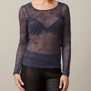 ANASTASIA T-shirt full lace, dark blue. Shirt in full lace. Cool to wear under a jacket, so the lace is to be seen.  Coloured by the eco-tex 100 standards.