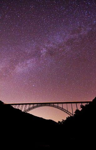 New River Gorge Bridge and the Night Sky by Chase Gunnoe #WV