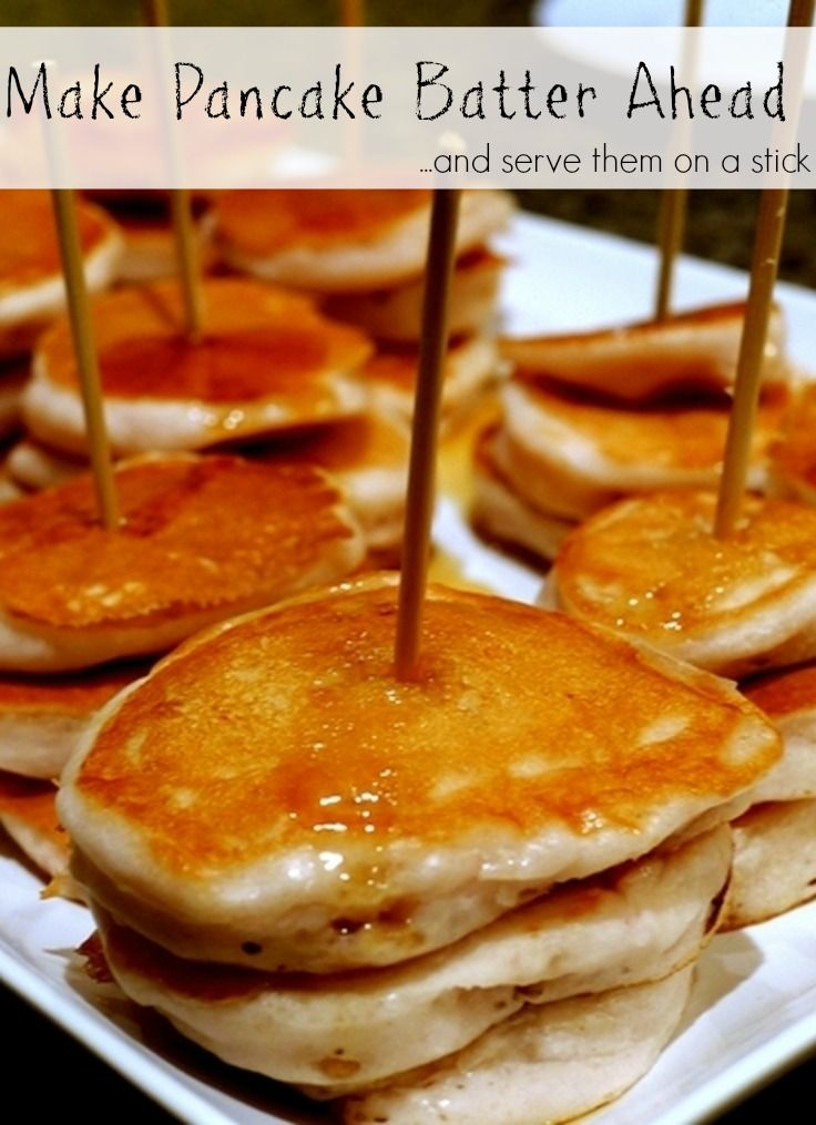 Make enough pancake batter on the weekend to serve all week long. In the morning all you have to do is heat up the pan and make a few sand dollar sized pancakes. Serve them on a skewer for fun. #Johnsonville #MorningHacks