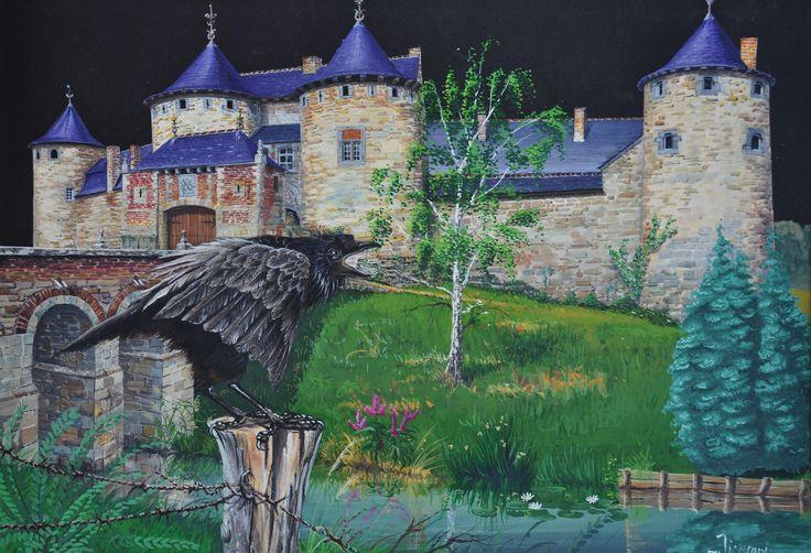 Un corbeau corneille se signale devant le château de CORROY en Belgique. Gouache de 50 x 70 cm par Michaux.