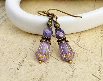 Purple Earrings, Amethyst Earrings, Lavender Earrings, Tulip Earrings, Flower Earrings, Czech Glass Beads, Victorian Earrings, Gifts for Her