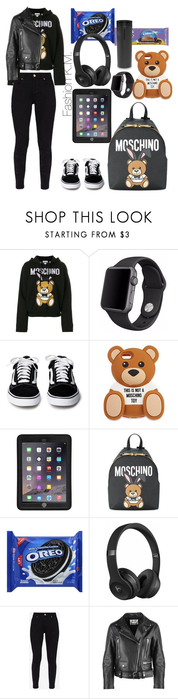 """""""This is not a Moschino toy🐻"""" by karinemarutyan ❤ liked on Polyvore featuring Moschino, Apple, Griffin, Beats by Dr. Dre, Ted Baker and Acne Studios"""