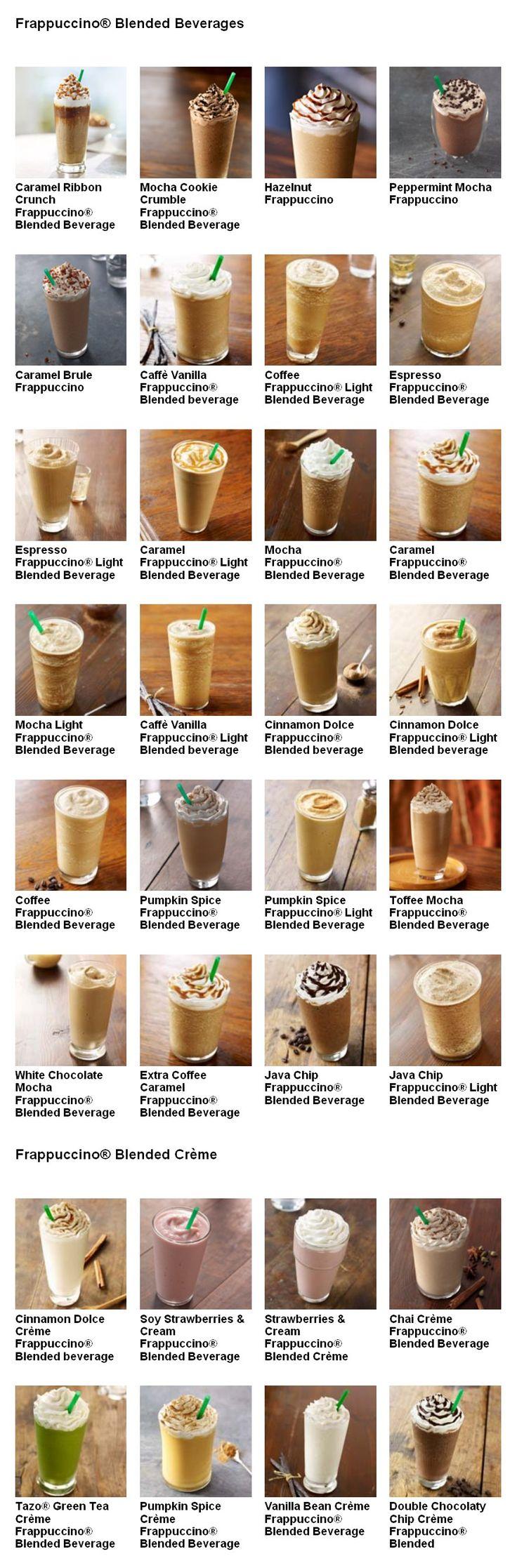 Starbucks Frappuccino Menu -Yummmm!!!!!