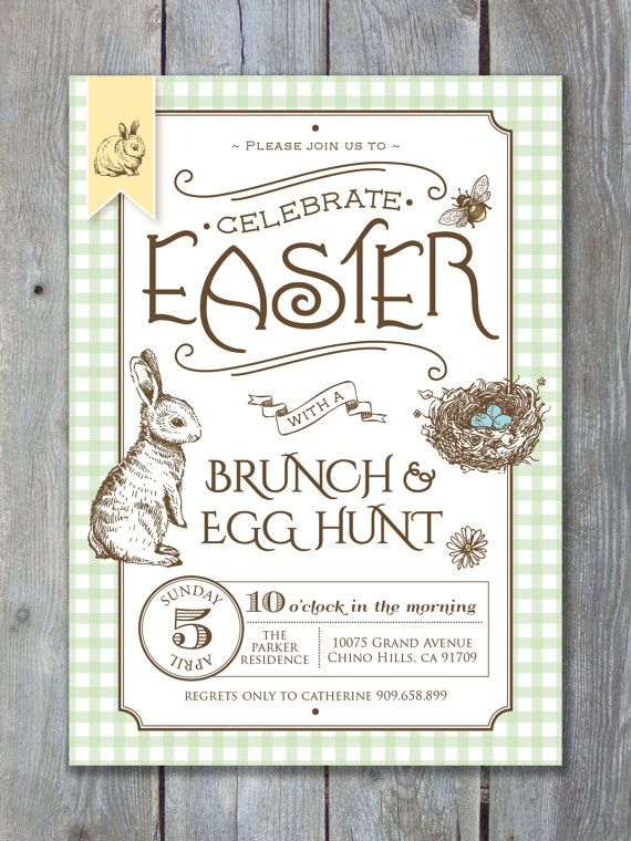 COUNTRY STYLE EASTER Invitation Printable file by Sweet Scarlet Designs