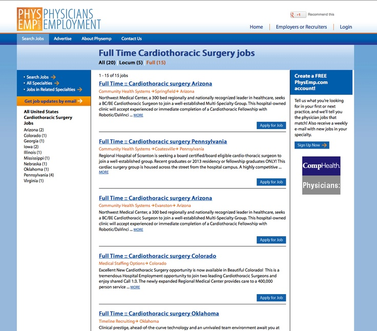 Cardiothoracic Surgery Jobs! Search and apply to positions
