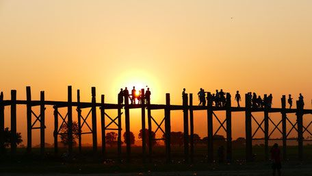 U-Bein Bridge at Amarapura, Mandalay, Myanmar