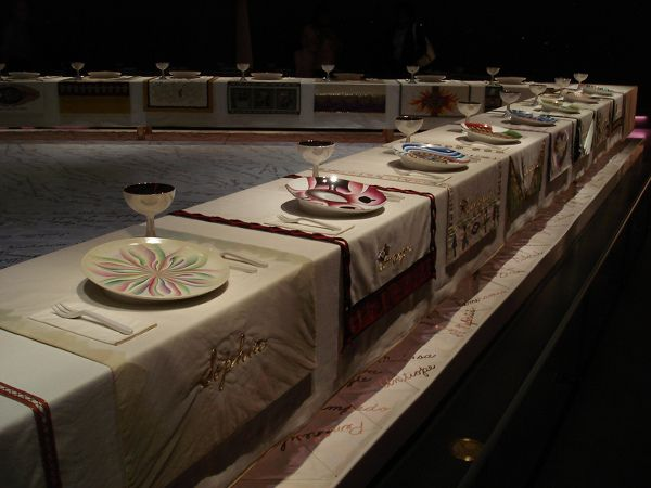 10 Famous Feminist Artworks.  Pictured is Judy Chicago's The Dinner Party