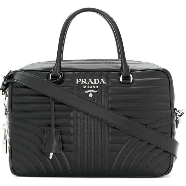 Prada Bauletto tote bag (€1.535) ❤ liked on Polyvore featuring bags, handbags, tote bags, black, top handle handbags, zip top tote bags, tote purses, prada tote bag and zip top tote