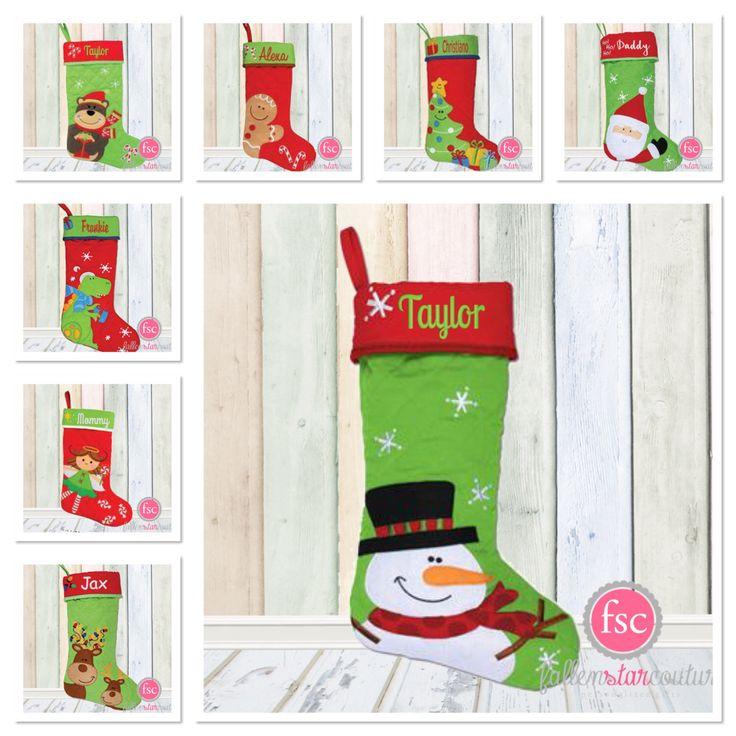 Personalized christmas stocking , STEPHEN JOSEPH , christmas tree stocking , family christmas stockings , kids stocking , monogram stocking by FallenStarCoutureInc on Etsy https://www.etsy.com/listing/456001674/personalized-christmas-stocking-stephen